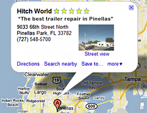 map to hitch world in Pinellas Park